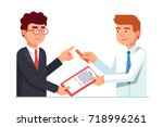 salesman passing contract... | Shutterstock .eps vector #718996261