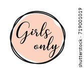 girls only round tag with pink... | Shutterstock .eps vector #719001019