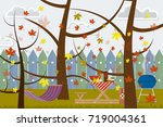 hand drawn poster autumn picnic ... | Shutterstock .eps vector #719004361