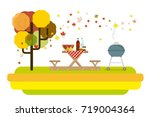 autumn picnic nature poster | Shutterstock .eps vector #719004364