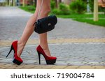 beautiful slender legs shod in... | Shutterstock . vector #719004784