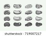 set of vintage butchery  bbq or ... | Shutterstock .eps vector #719007217