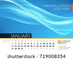 desk line calendar for 2018... | Shutterstock .eps vector #719008354