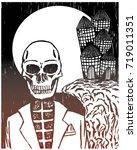 halloween skull and haunted...   Shutterstock .eps vector #719011351
