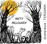 halloween card with zombie... | Shutterstock .eps vector #719016904