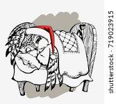 cute christmas owl sleep hand... | Shutterstock .eps vector #719023915