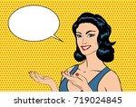pop art smiling sexy woman...   Shutterstock . vector #719024845