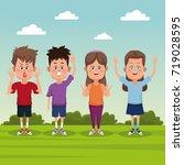 kids at park | Shutterstock .eps vector #719028595