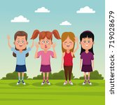 kids at park | Shutterstock .eps vector #719028679
