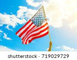 usa flag with clouds on... | Shutterstock . vector #719029729