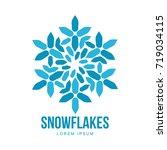 snowflake vector logo templates ... | Shutterstock .eps vector #719034115