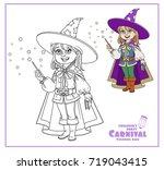 cute boy in magician costume... | Shutterstock .eps vector #719043415
