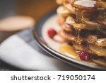 dessert. homemade sweet and... | Shutterstock . vector #719050174
