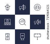 set of 9 advertising outline... | Shutterstock .eps vector #719064121