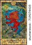 strength. manticore. red beast. ... | Shutterstock . vector #719074435