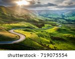 sunset at mam tor  peak... | Shutterstock . vector #719075554