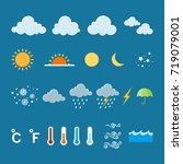 set of flat color weather icons.... | Shutterstock .eps vector #719079001