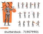 halloween skeleton costumes ... | Shutterstock .eps vector #719079901