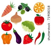 foodstuff icons set.... | Shutterstock .eps vector #71908318