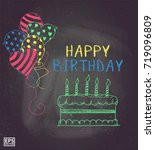 balloon doodle chalk or happy... | Shutterstock .eps vector #719096809