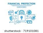 modern flat blue color line... | Shutterstock .eps vector #719101081