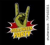 zombie green hand wow pop art... | Shutterstock .eps vector #719102311