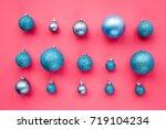 christmas toys pattern. blue... | Shutterstock . vector #719104234