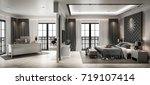 interior bedroom studio mock up ... | Shutterstock . vector #719107414