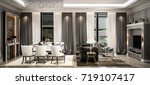 interior living studio mock up  ... | Shutterstock . vector #719107417