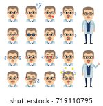 set of professor emoticons... | Shutterstock .eps vector #719110795