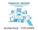 modern flat blue color line... | Shutterstock .eps vector #719114485