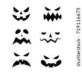 scary halloween pumpkin faces... | Shutterstock .eps vector #719116675