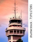 Small photo of Air Traffic Control tower at the airport in a region close to the evening when the sun goes down.