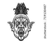 scary cartoon clown... | Shutterstock .eps vector #719130487