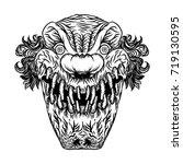 scary cartoon clown... | Shutterstock .eps vector #719130595