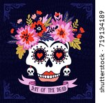 woman skull with the wreath of... | Shutterstock .eps vector #719134189