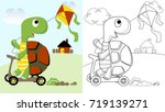 turtle playing kite  vector... | Shutterstock .eps vector #719139271