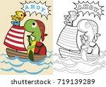 turtle on wooden sailboat ... | Shutterstock .eps vector #719139289