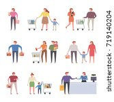 various people shopping at mall ... | Shutterstock .eps vector #719140204
