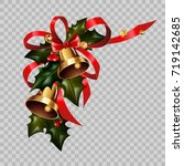 christmas decoration gold bells ... | Shutterstock .eps vector #719142685