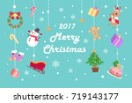 cartoon merry christmas on the... | Shutterstock .eps vector #719143177