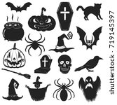 set of halloween icons. trick... | Shutterstock .eps vector #719145397