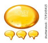 set of vector honey drops on... | Shutterstock .eps vector #719145415