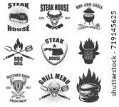 set of steak house emblems.... | Shutterstock .eps vector #719145625
