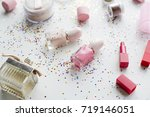 cosmetic objects and confetti... | Shutterstock . vector #719146051