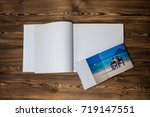 open book with a photo couples... | Shutterstock . vector #719147551