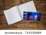 open book with a photo couples... | Shutterstock . vector #719150089