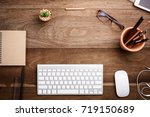 office stuff and stationery... | Shutterstock . vector #719150689