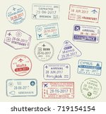 passport city names stamp set.... | Shutterstock .eps vector #719154154