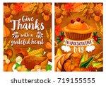 thanksgiving day dinner poster...   Shutterstock .eps vector #719155555